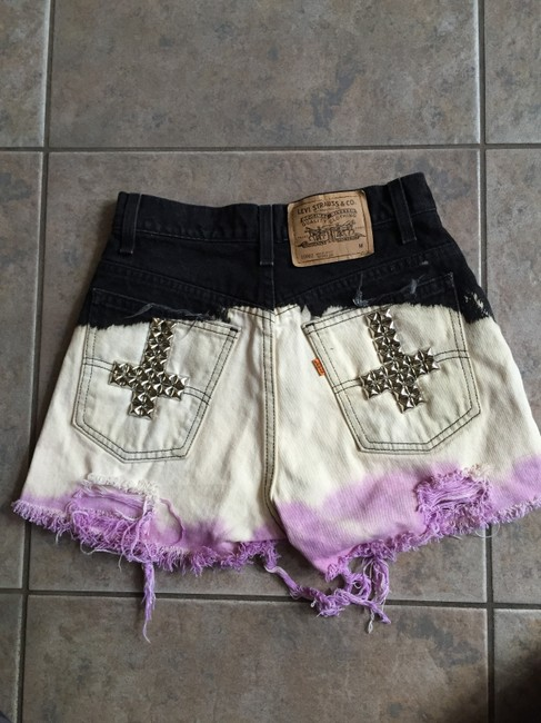 Custom-Made Cut Off Shorts Black, cream and purple