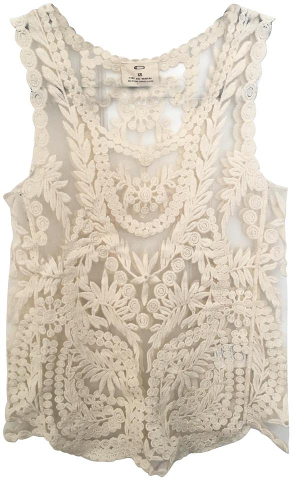 Pins And Needles Cream Lace Overlay Tank Topcami Size 0 Xs 63 Off Retail