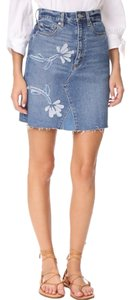 La Vie Rebecca Taylor Fleur Denim Mini Skirt blue