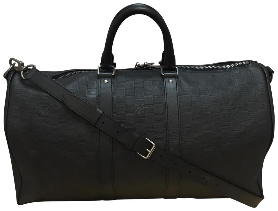 0abad22b4812 Louis Vuitton Keepall 45 Bandouliere Damier Infini Black Leather Weekend  Travel Bag