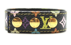 Louis Vuitton black multicolor Limited edition Landmark gold hardware bracelet