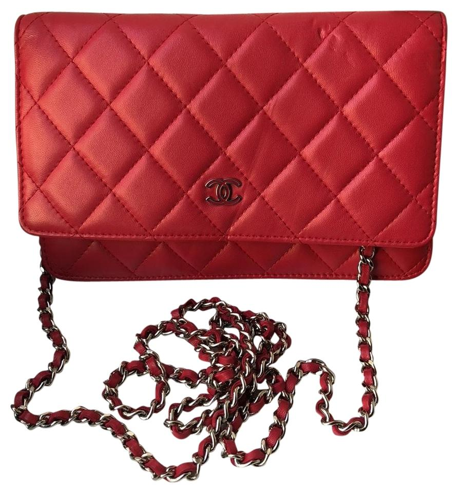2d7ad12cf484 Chanel Timeless Wallet on Chain Caviar Lambskin Divine Red/Pink Patent  Leather Cross Body Bag