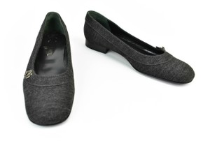 Chanel Cc Logo Loafers Dark Gray Flats