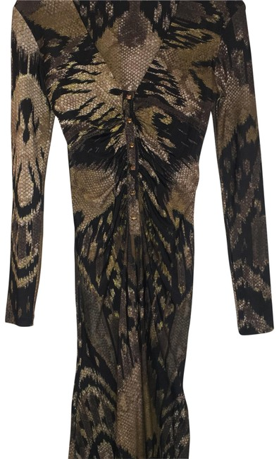 Item - Black Brown Tan Gold Fishtail Plunge Animal Mid-length Night Out Dress Size 6 (S)