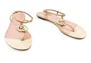 Gucci Gold Leather Logo Gg Beige Sandals