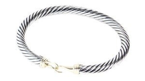 David Yurman Cable Classic Buckle Bracelet with 14K Gold 5mm $750 NWOT