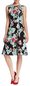 Oscar de la Renta Knee-length Fit And Flare Floral Ikat Print Belted Silk Lining Dress