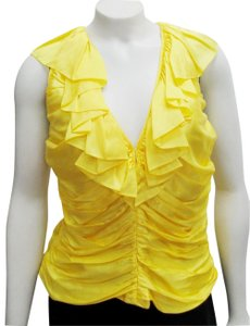 Ralph Lauren Collection Ruched Sleeveless Top yellow