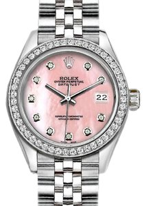 Rolex Ladies 26mm Rolex with Custom Bezel and Diamond Pink MOP Dial