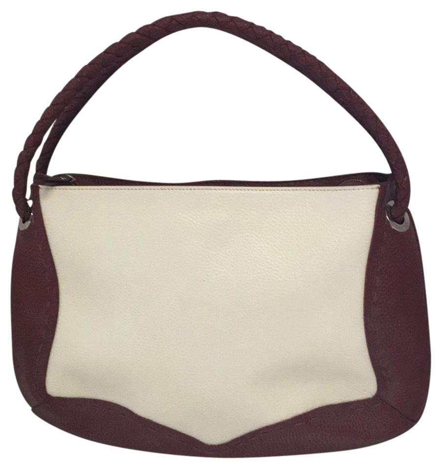 1456a30b44 Desmo Color Block Cream Burgundy Pebbled Leather Hobo Bag .