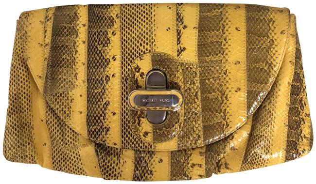Item - Templeton Yellow Snakeskin Leather Clutch