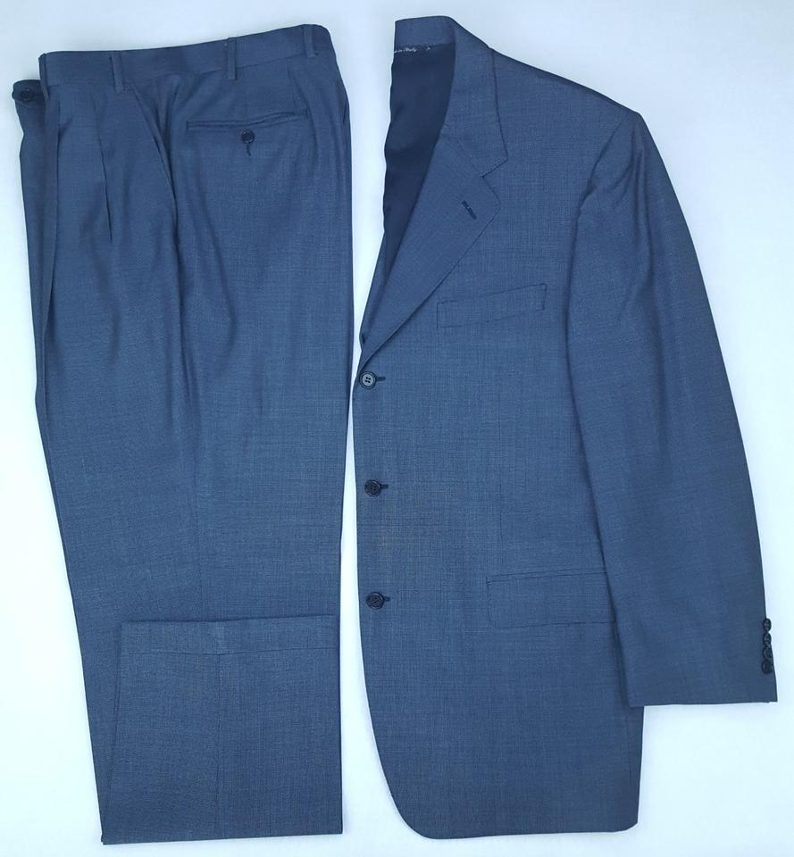 Canali Blue Suit 44r Three Button Mens Wool Italy 13320 Crosshatch ...