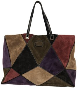 afe5a594f504 Roger Vivier Suede Patchwork Tote in Purple multicolor