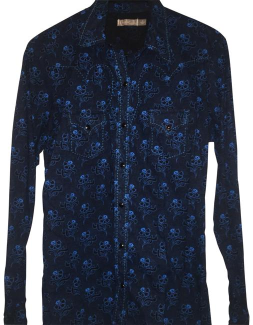 Item - Black Blue Western Cowgirl Shirt Button-down Top Size 10 (M)