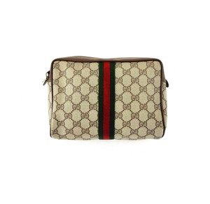 Gucci Web GG Monogram Canvas Leather Cosmetics Travel Dopp Toiletry Bag