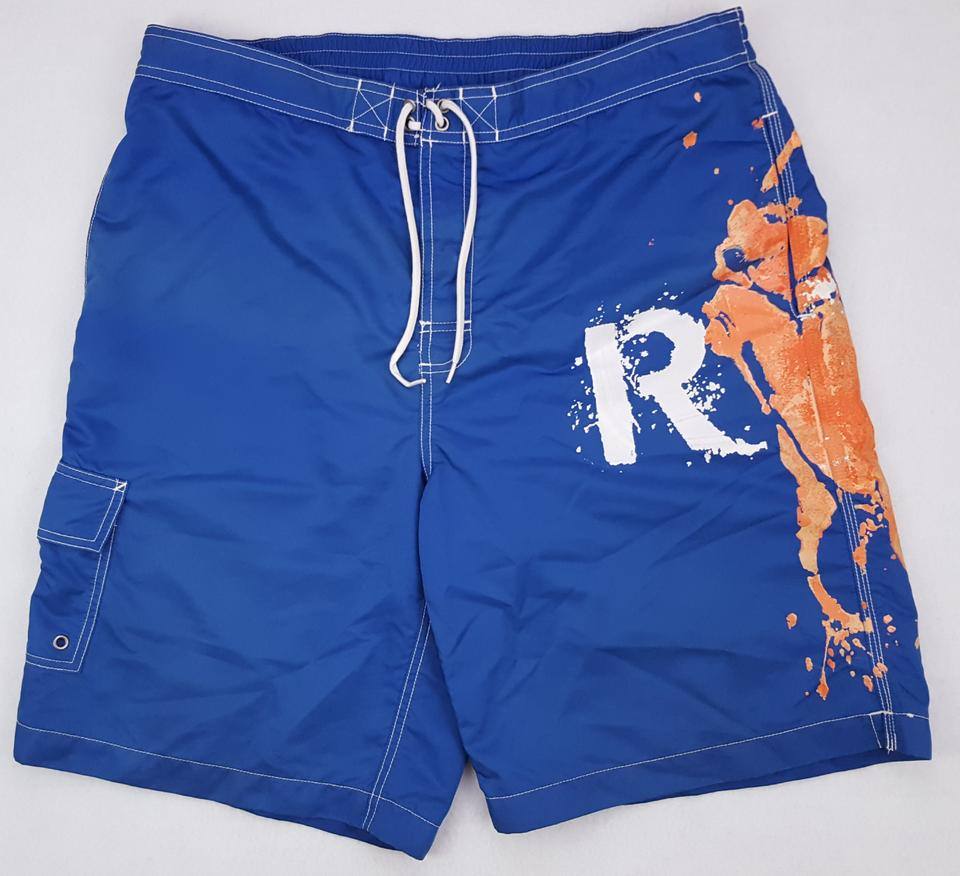 122f21c2a4 Polo Ralph Lauren Blue Swim Trunks Mens Size L Big Pony Logo Car Groomsman  Gift Image ...