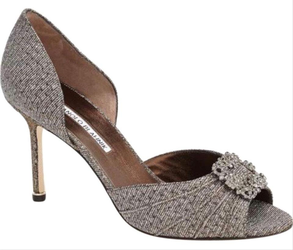 63fd8648f7 Manolo Blahnik Hangisi Broach D'orsay Peep Toe Crystal Bronze Pumps Image 0  ...