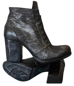 A.S. 98 Embossed Leather Ankle/Zip Black Boots