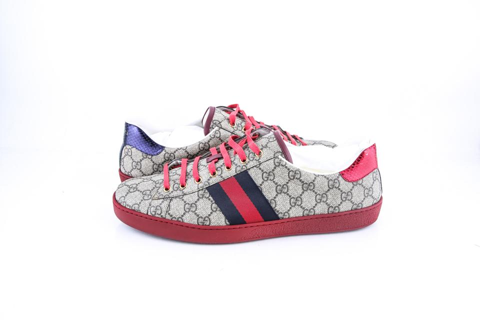 3a077d000da Gucci   Beige Ebony Blue Red Ace Gg Supreme Sneaker Shoes - Tradesy