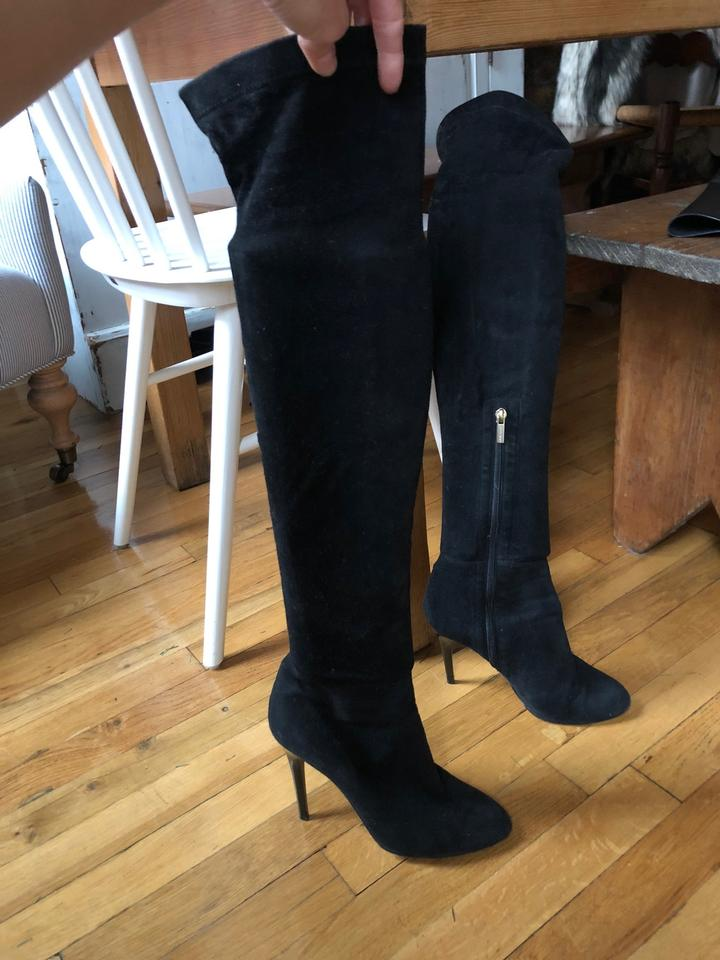 c2920f345cd Jimmy Choo Black Suede Stretch - Over The Knee Turner Boots/Booties Size EU  38 (Approx. US 8) Narrow (Aa, N) 72% off retail