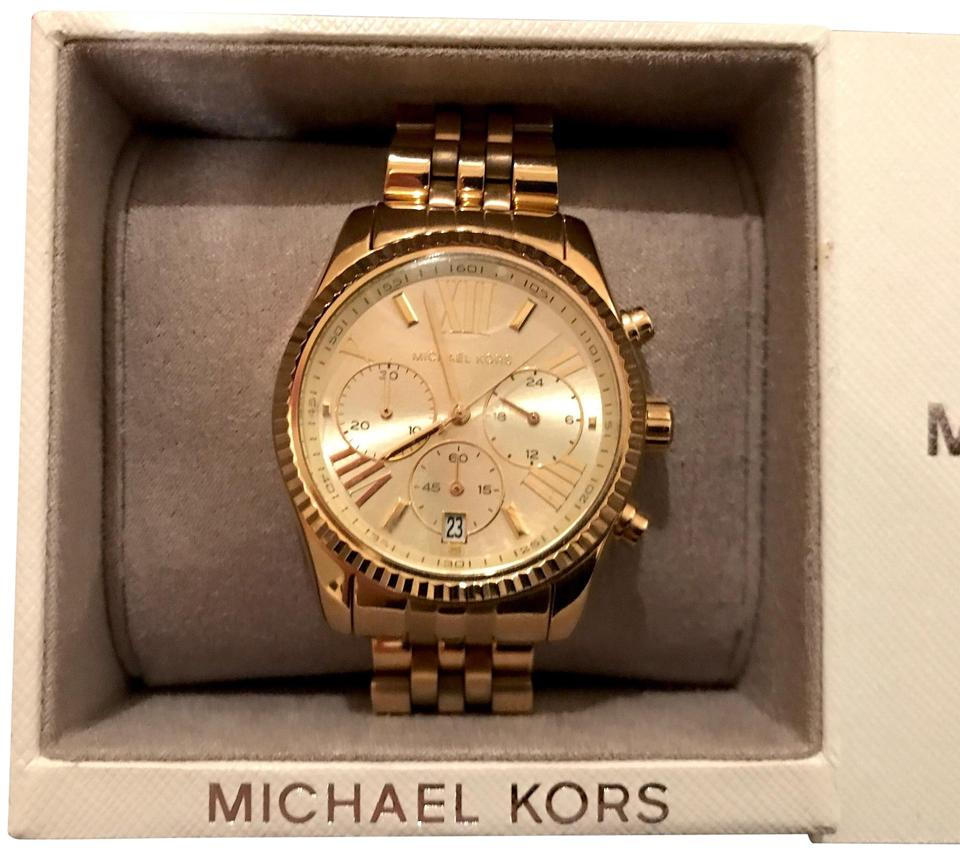 33bb9c869436 Michael Kors Gold Lexington Chronograph Champagne Dial Pvd Ladies Mk5556  Watch