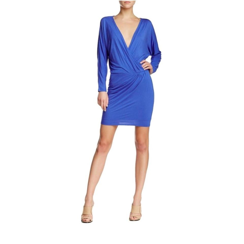 00156d1ae64 Haute Hippie Cobalt Blue Ruched Mini Short Night Out Dress Size 12 ...