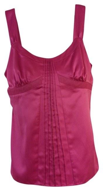 Ann Taylor LOFT Satin Fitted Dressy Cocktail Silky Top Fuschia