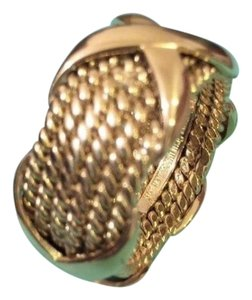 Tiffany & Co. Tiffany & Co Schlumberger 18K Yellow Gold Rope Six Row X Ring 6.75