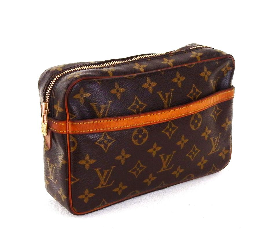 louis vuitton brown compiegne 23 monogram canvas leather makeup travel dopp cosmetic bag tradesy. Black Bedroom Furniture Sets. Home Design Ideas