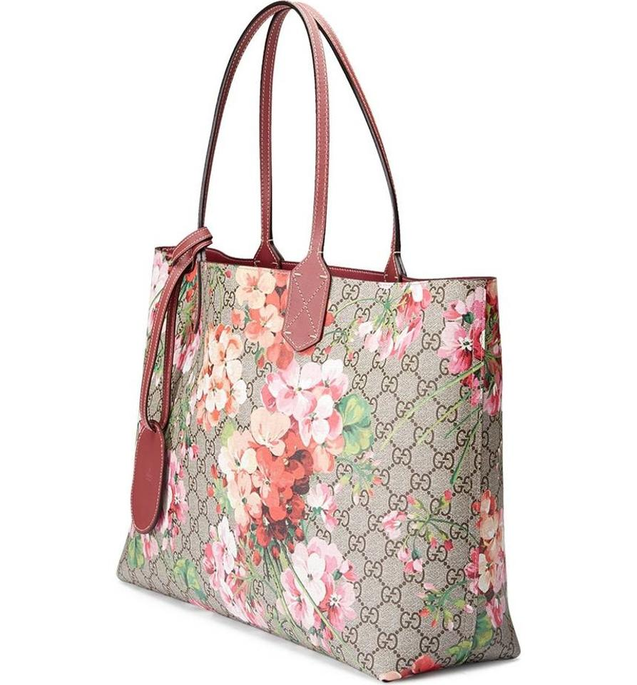 5724a153d80277 Gucci Medium Gg Blooms Reversible Leather Pink Canvas Tote - Tradesy