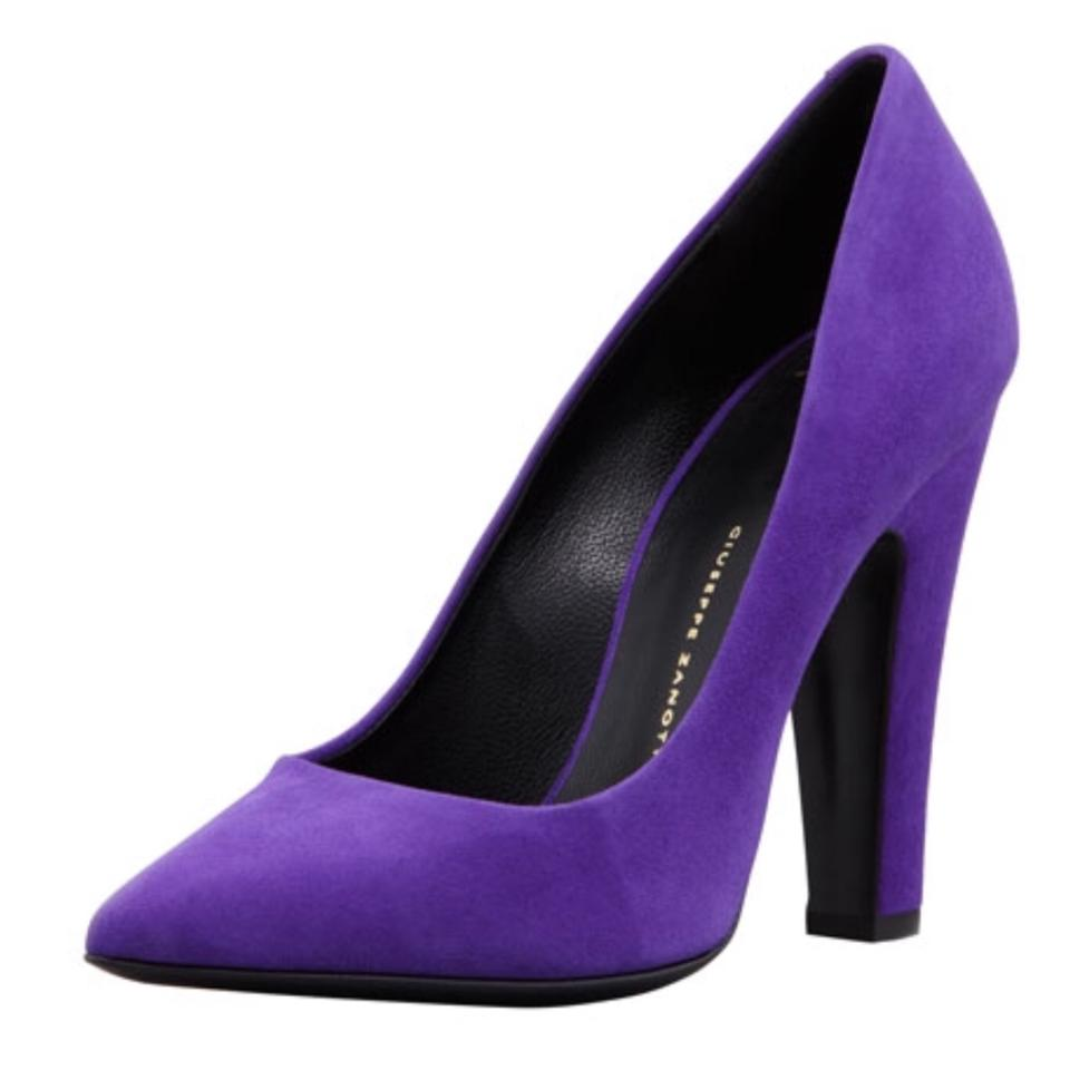 0263a50ca92 Giuseppe Zanotti Purple Suede Pointed-toe Thick-heel Pumps Size US ...