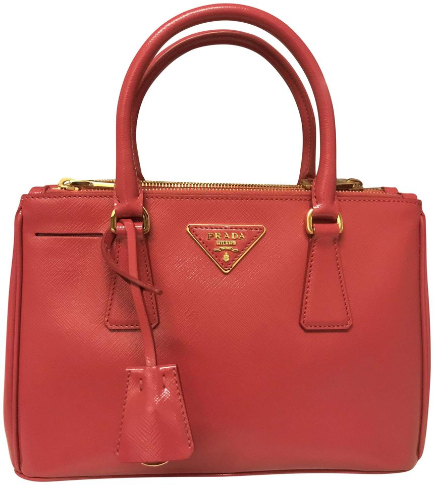92594388fdeb Prada Tote Double Lux Saffiano Mini Double-zip Pink (Peonia) Patent Leather Cross  Body Bag