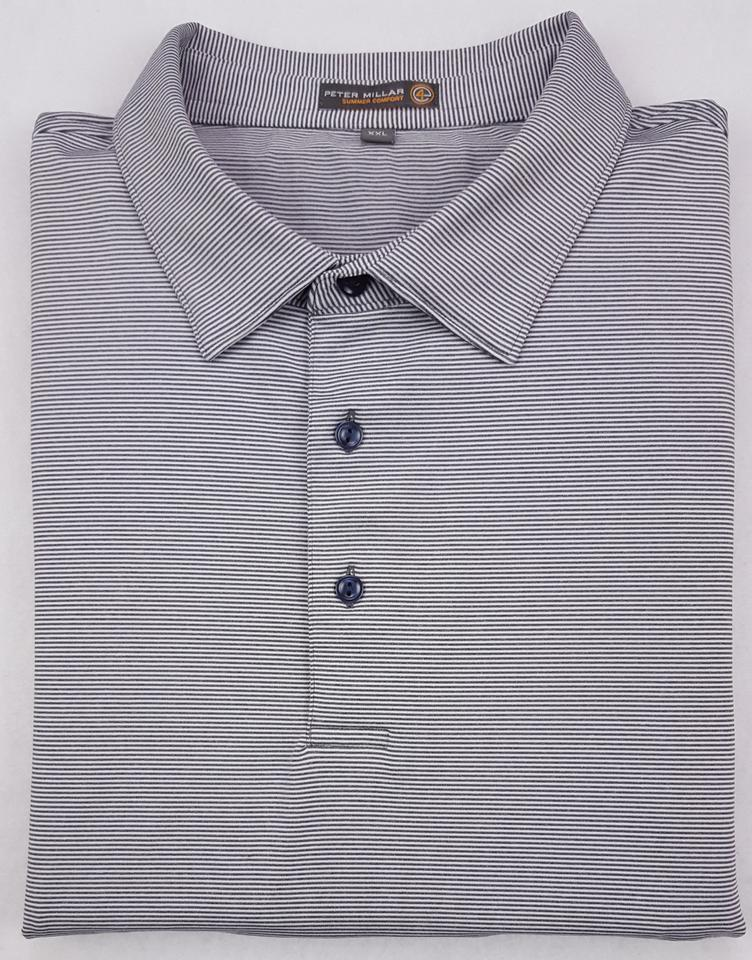 8f8f08e13 Peter Millar Gray Striped 2xl Polo Summer Comfort Golf White Xxl Shirt