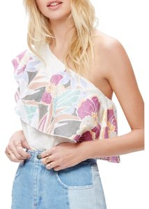 Free People One Shoulder Ruffle Floral Top cream ivory