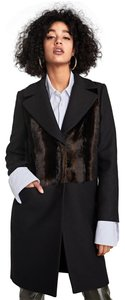 Zara Mink Faux Wool Lapel Double Breasted Fur Coat