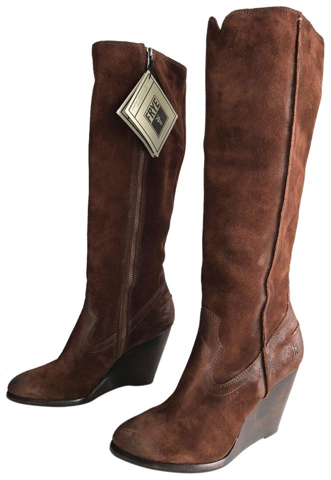798ff687725 Frye Brown Cece Tall Wester Knee High Wedge Suede Boots Booties Size ...