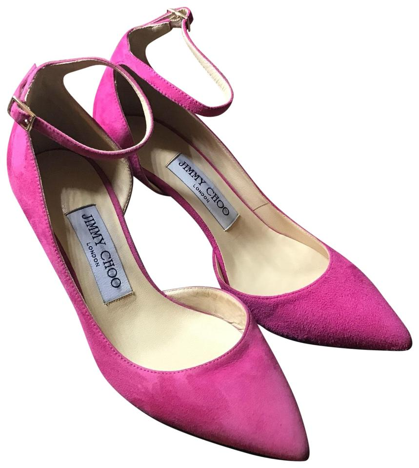 7ad3885fddc Jimmy Choo Fuchsia Women s Pink Lucy 65 Suede D orsay Ankle-strap Pumps
