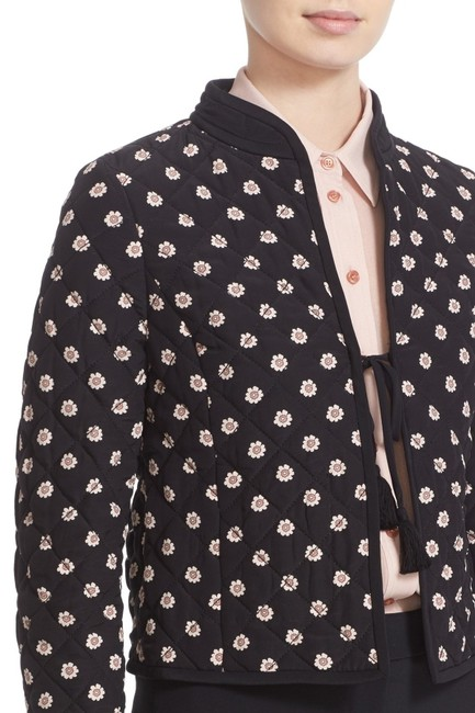 Kate Spade Black-pink (Nwt) Ditzy Quilted Floral Silk Jacket Size 6 (S) Kate Spade Black-pink (Nwt) Ditzy Quilted Floral Silk Jacket Size 6 (S) Image 2