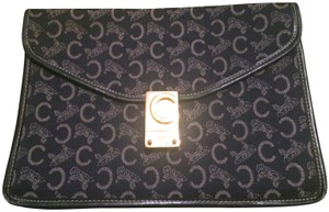 Céline Vintage Leather Logo Classic Gold Hardware Navy Clutch