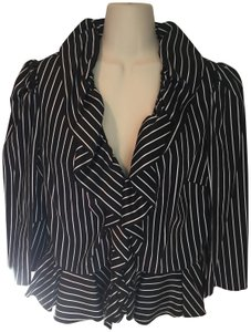 Ralph Lauren Ruffles Button Down Cotton Stripes Peplum Top Black & white