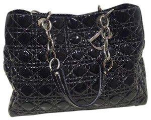 Dior Christian Patent Leather Cannage Tote in Black