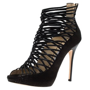 Jimmy Choo Snakeskin Quito Black Boots