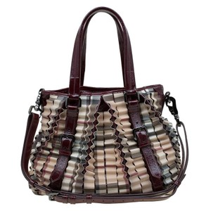 Burberry Lowry Canvas Tote in Burgundy