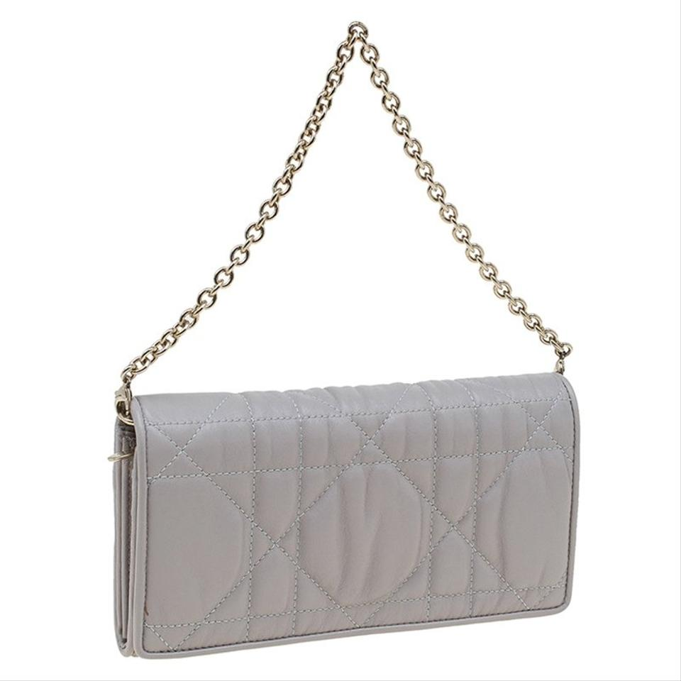 Wallet Dior Convertible Leather Quilted Cannage Gaufre Grey Clutch Delices rXqUrgnw