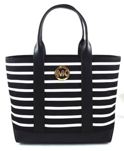 Michael Kors Tote in black/optic white stripe