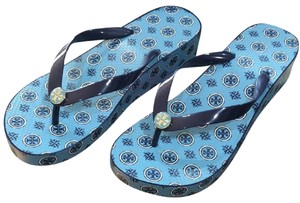 Tory Burch New Flip Flop New Wedge Wedge Tag Blue Sandals