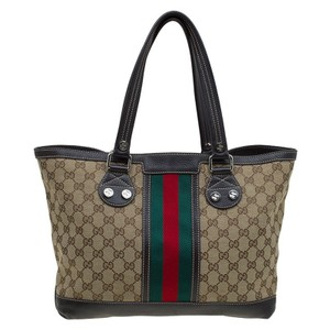 Gucci Gg Canvas Web Sunset Tote in Beige/Brown