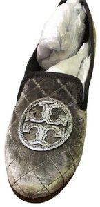 Tory Burch New Slippers Slippers W Tag Silver Slippers Velvet Slippers New Quilted Slipper grey Flats