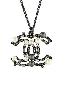 Chanel Authentic Chanel Pearl CC Logo Crystal Necklace Pendant Italy,