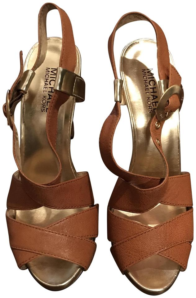 a5f4e6173cd Michael Kors Brown and Gold Mclane Madras Sandals Size US 8 Regular ...